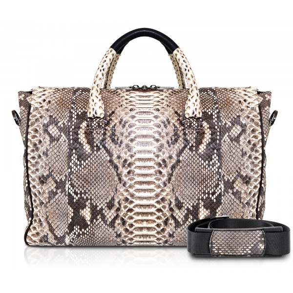 Ammoment - Lark Weekender Small in Python - Roccia - Luxury High Quality Leather Bag