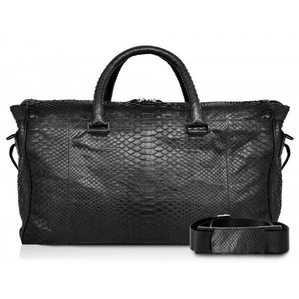 Ammoment - Lark Weekender Large in Python - Black - Luxury High Quality Leather Bag