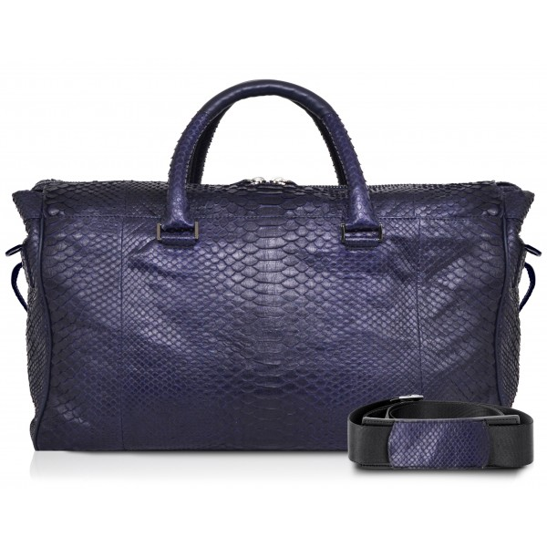 Ammoment - Lark Weekender Large in Python - Navy - Luxury High Quality Leather Bag