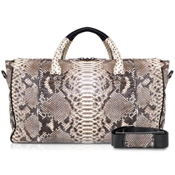 Ammoment - Lark Weekender Large in Python - Roccia - Luxury High Quality Leather Bag