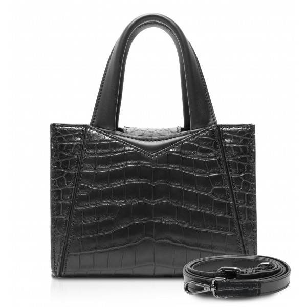 Ammoment - Vesper Bag Small in Crocodile - Black - Luxury High Quality Leather Bag