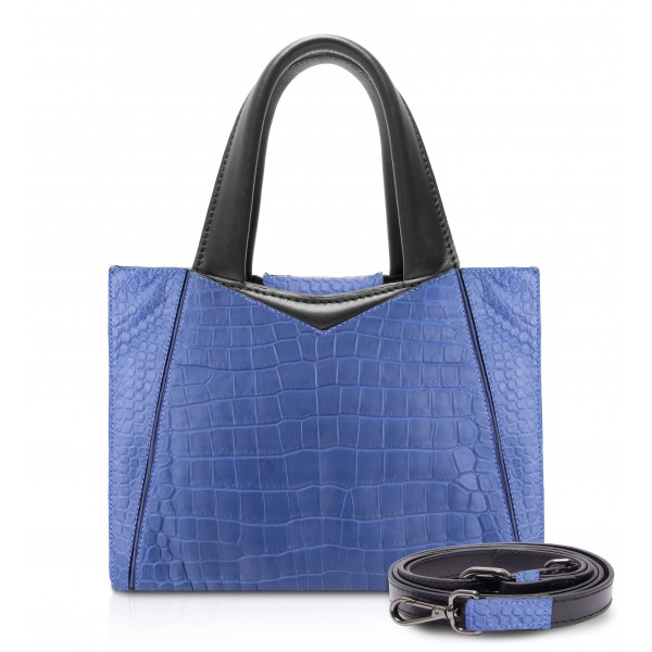 Ammoment - Vesper Bag Small in Crocodile - Navy - Luxury High Quality Leather Bag