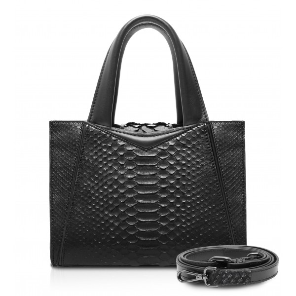 Ammoment - Vesper Bag Small in Python - Black - Luxury High Quality Leather Bag