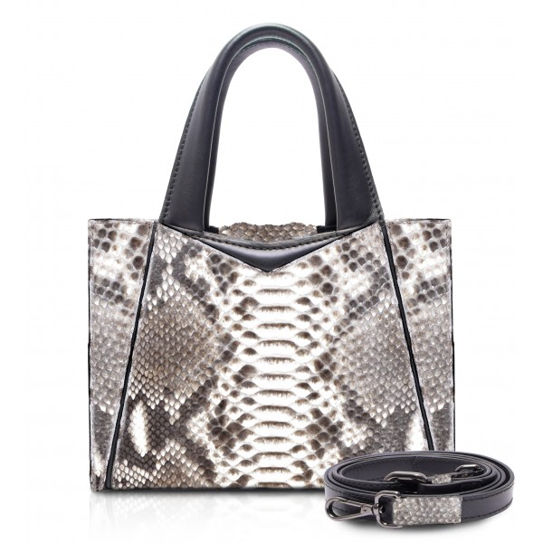 Ammoment - Vesper Bag Small in Python - Roccia - Luxury High Quality Leather Bag