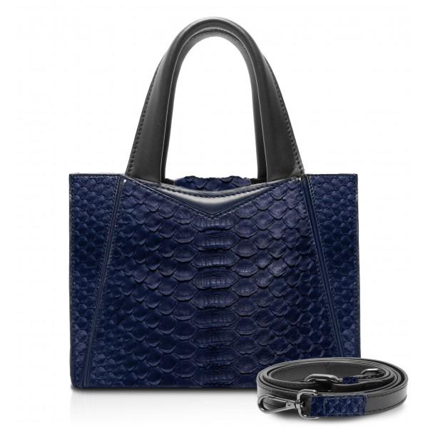 Ammoment - Vesper Bag Small in Pitone - Navy - Borsa in Pelle di Alta Qualità Luxury