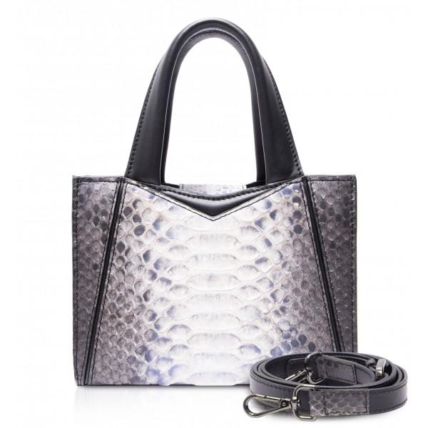 Ammoment - Vesper Bag Small in Pitone - Baikal Blu - Borsa in Pelle di Alta Qualità Luxury