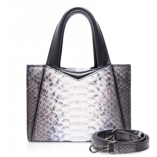 Ammoment - Vesper Bag Small in Python - Baikal Blue - Luxury High Quality Leather Bag