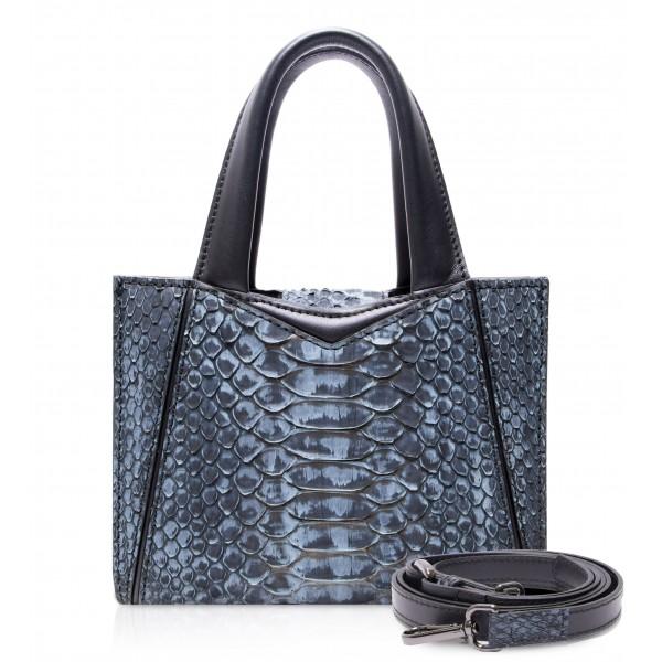 Ammoment - Vesper Bag Small in Pitone - Moxi Nero - Borsa in Pelle di Alta Qualità Luxury