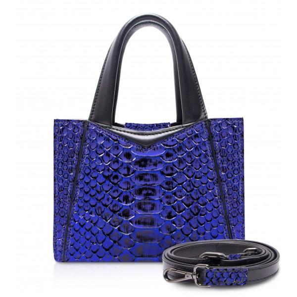 Ammoment - Vesper Bag Small in Pitone - NYX Blu - Borsa in Pelle di Alta Qualità Luxury
