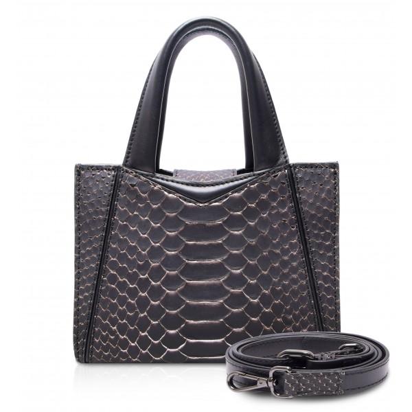 Ammoment - Vesper Bag Small in Pitone - Rosa Pepita - Borsa in Pelle di Alta Qualità Luxury