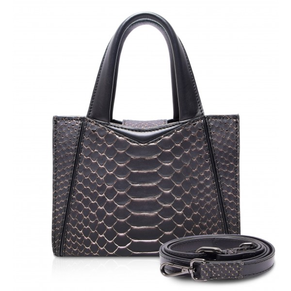 Ammoment - Vesper Bag Small in Python - Pepite Rose - Luxury High Quality Leather Bag