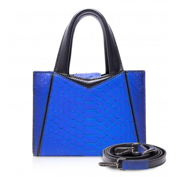 Ammoment - Vesper Bag Small in Pitone - Blu Petalo - Borsa in Pelle di Alta Qualità Luxury