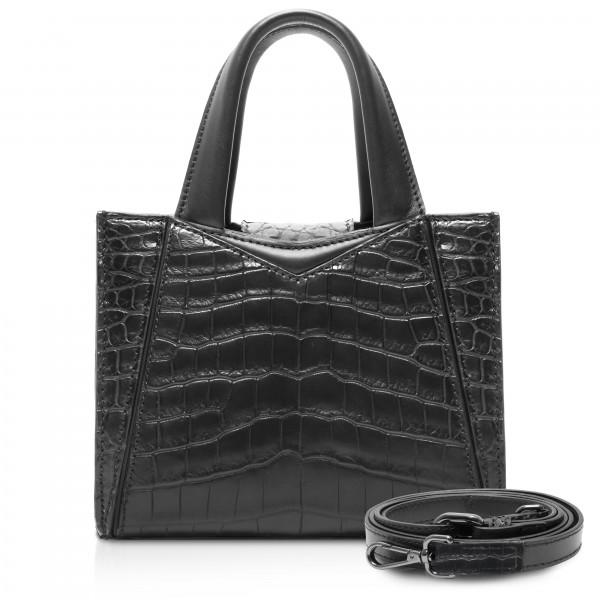 Ammoment - Vesper Bag Large in Crocodile - Black - Luxury High Quality Leather Bag