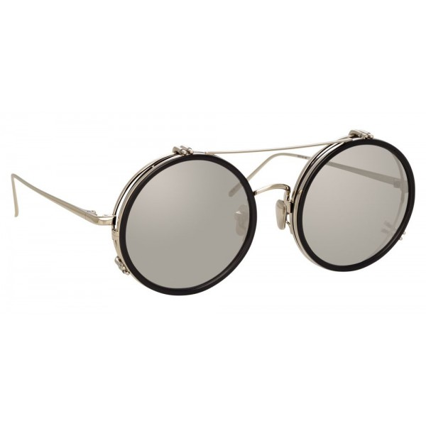 Linda Farrow - Occhiali da Sole Rotondi 741 C4 - Neri e Titanio - Linda Farrow Eyewear