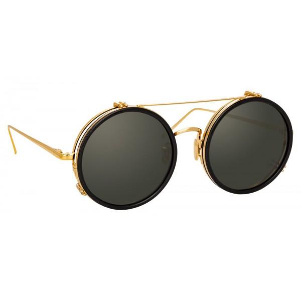 Linda Farrow - Occhiali da Sole Rotondi 741 C1 - Neri e Oro - Linda Farrow Eyewear