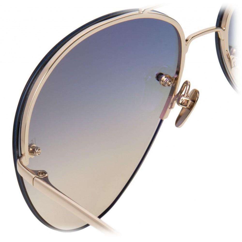 f907daff8cb ... Linda Farrow - 574 C6 Aviator Sunglasses - Gold - Linda Farrow Eyewear  ...