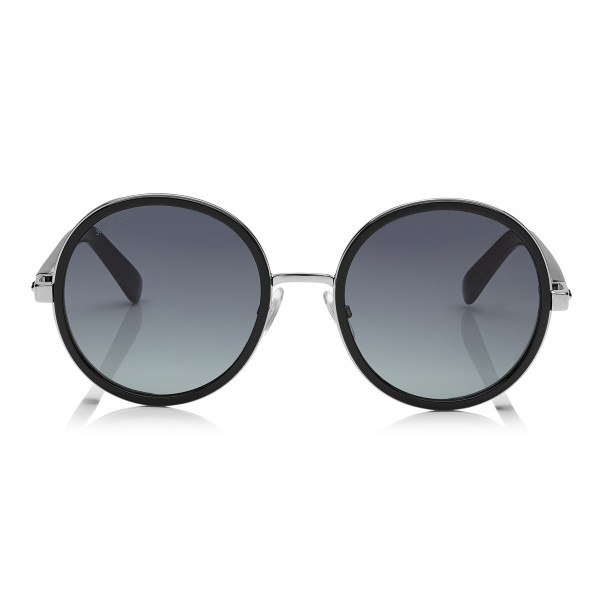 Jimmy Choo - Andie - Black Acetate Round Framed Sunglasses with Silver Lurex Detailing - Sunglasses - Jimmy Choo Eyewear