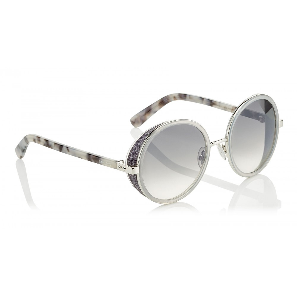 fba560f2cd32 ... Jimmy Choo - Andie - Light Grey Havana Round Framed Sunglasses with  Crystal Glitter Detailing -