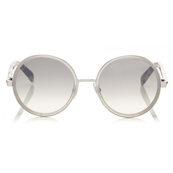e4574552ed Jimmy Choo - Andie - Light Grey Havana Round Framed Sunglasses with Crystal  Glitter Detailing -