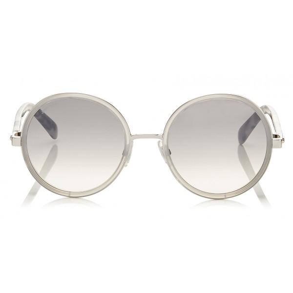 09ebeaba9338 Sale Jimmy Choo - Andie - Light Grey Havana Round Framed Sunglasses with  Crystal Glitter Detailing -