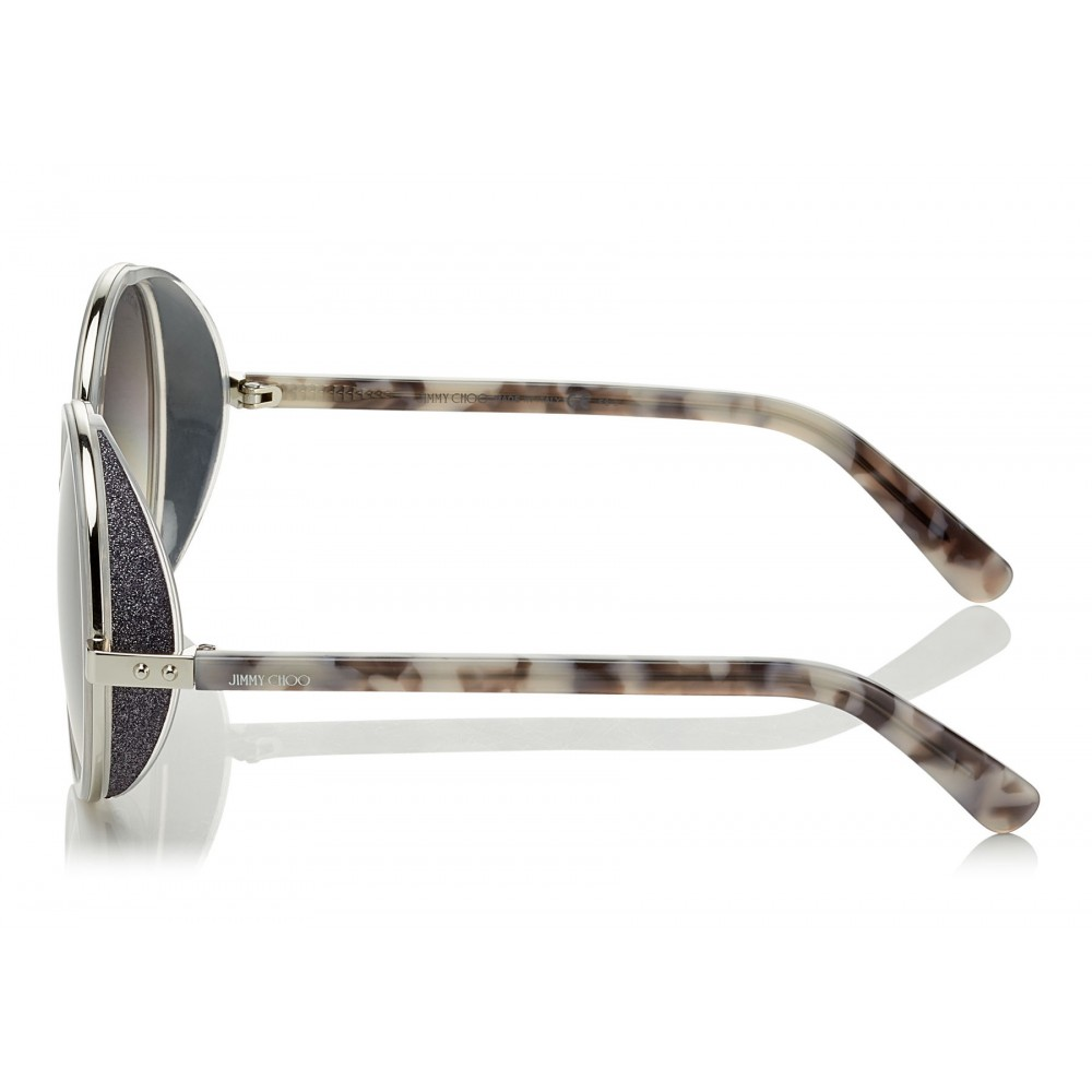 9f7ea6bb6bf5 ... Jimmy Choo - Andie - Light Grey Havana Round Framed Sunglasses with  Crystal Glitter Detailing ...