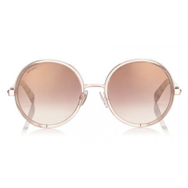 Jimmy Choo - Andie - Occhiali da Sole Rotondi Oro e Dettagli in Cristallo Argento Oro - Occhiali da Sole - Jimmy Choo Eyewear