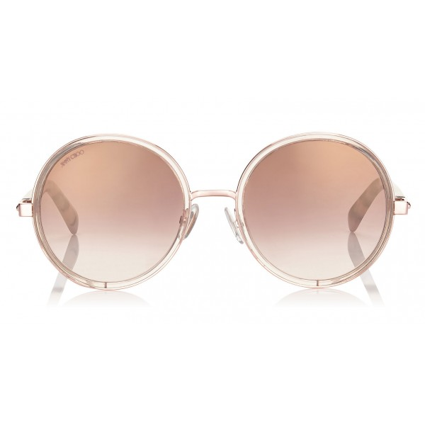 Jimmy Choo - Andie - Shaded Mirror Gold Round Sunglasses with Gold Silver Crystal Fabric - Sunglasses - Jimmy Choo Eyewear