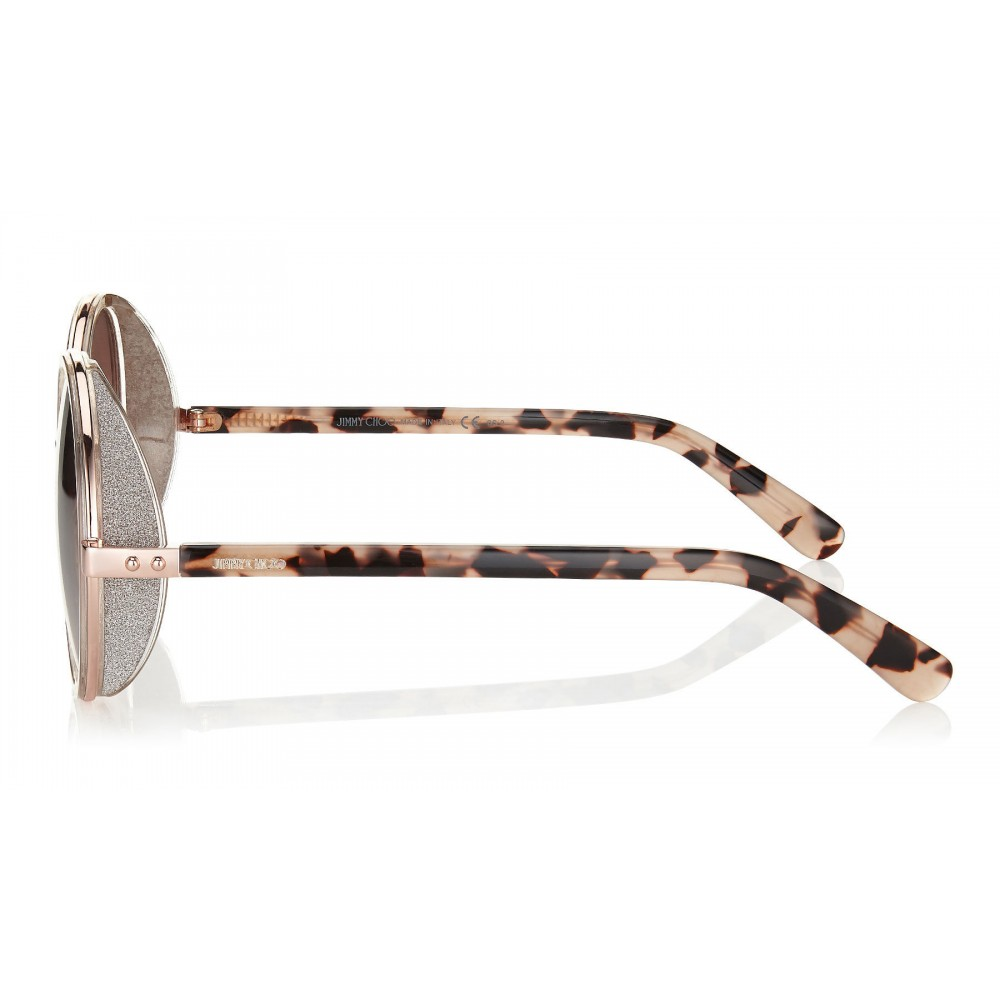 0f86d0590c94 ... Jimmy Choo - Andie - Shaded Mirror Gold Round Sunglasses with Gold  Silver Crystal Fabric ...