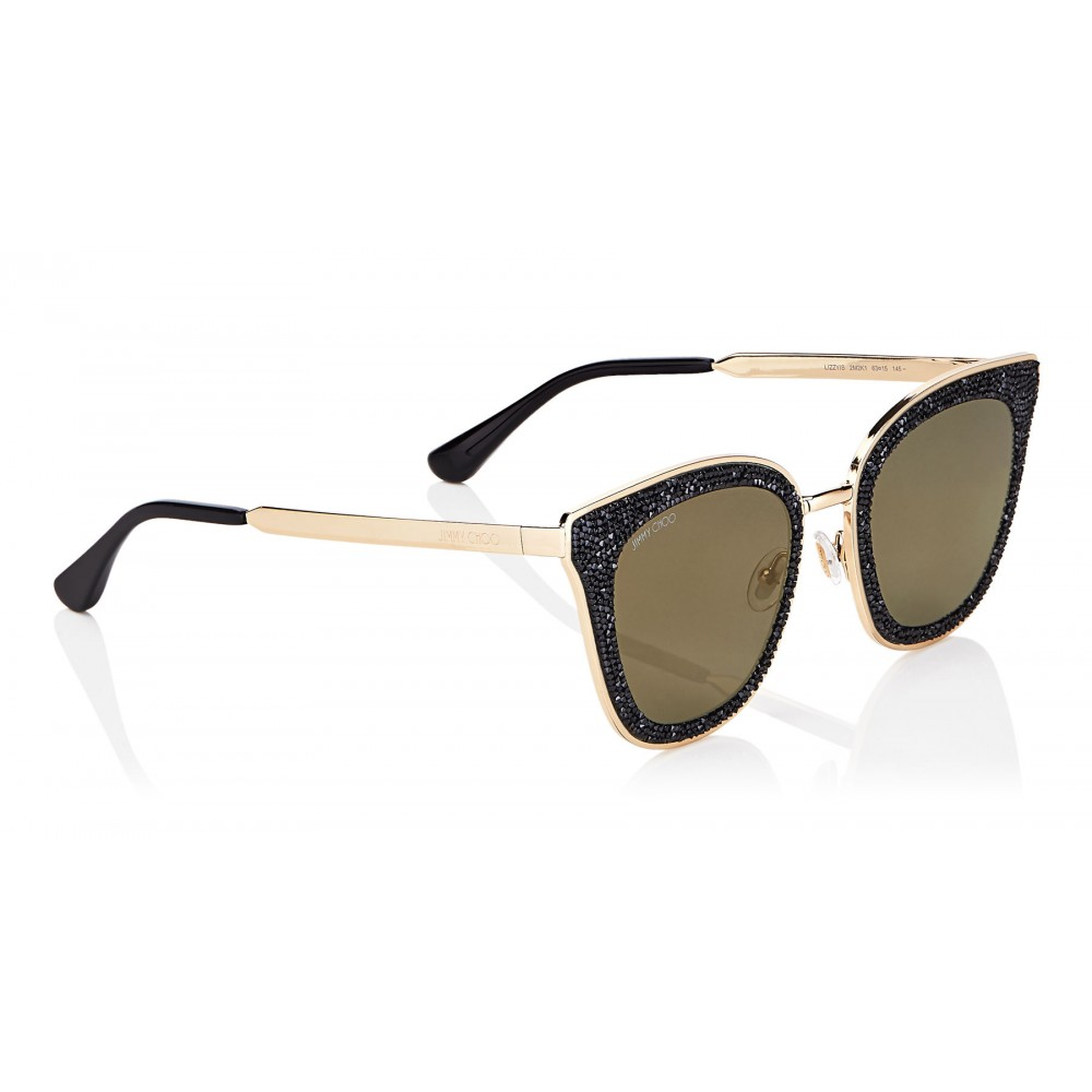 e3d9cff746 ... Jimmy Choo - Lizzy - Black and Gold Cat-Eye Sunglasses with Crystal  Detailing ...