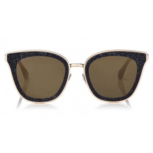 Jimmy Choo - Lizzy - Black and Gold Cat-Eye Sunglasses with Crystal Detailing - Sunglasses - Jimmy Choo Eyewear