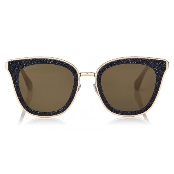 Jimmy Choo - Lizzy - Occhiali da Sole Cat-Eye Neri e Dorati con Dettagli in Cristallo - Occhiali da Sole - Jimmy Choo Eyewear