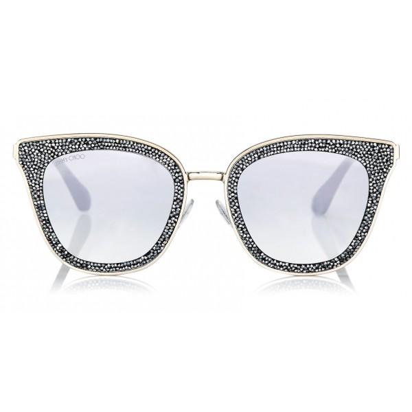 Jimmy Choo - Lizzy - Occhiali da Sole Cat-Eye Grigio e Argento con Dettagli in Cristallo - Occhiali da Sole - Jimmy Choo Eyewear