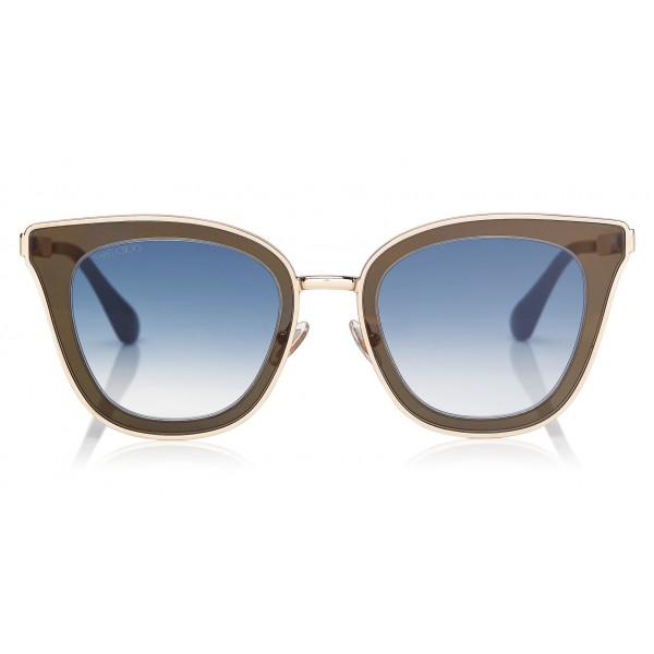 Jimmy Choo - Lory - Blue and Gold Cat-Eye Sunglasses with Mirror Lenses - Sunglasses - Jimmy Choo Eyewear