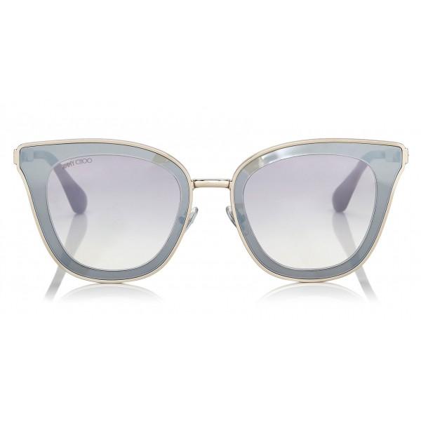 Jimmy Choo - Lory - Occhiali da Sole Cat-Eye in Oro Chiaro con Lenti a Specchio - Occhiali da Sole - Jimmy Choo Eyewear