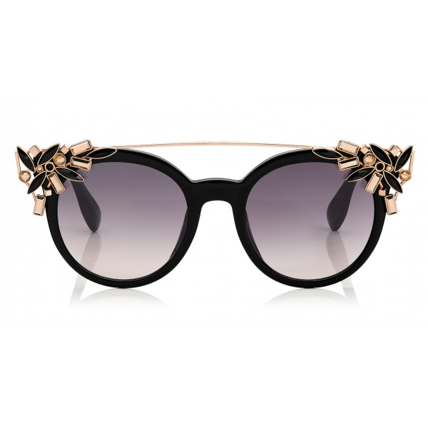 Jimmy Choo - Vivy - Black and Gold Round Framed Sunglasses with Detachable Jewel Clip On - Sunglasses - Jimmy Choo Eyewear