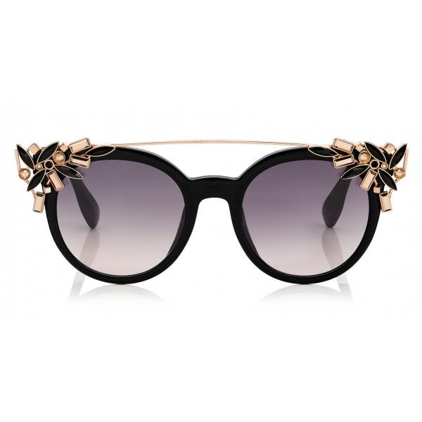 Jimmy Choo - Vivy - Occhiali da Sole Rotondi Neri e Dorati con Clip Gioiello Staccabile - Occhiali da Sole - Jimmy Choo Eyewear