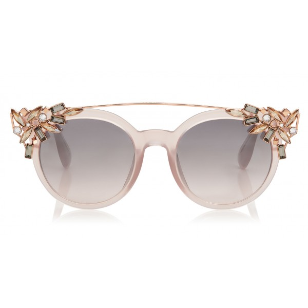 Jimmy Choo - Vivy - Pink Round Framed Sunglasses with Detachable Jewel Clip On - Sunglasses - Jimmy Choo Eyewear