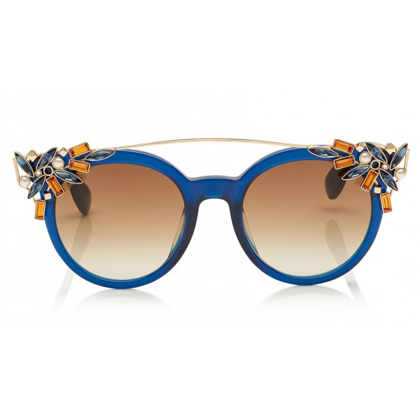 Jimmy Choo - Vivy - Blue and Gold Round Framed Sunglasses with Detachable Jewel Clip On - Sunglasses - Jimmy Choo Eyewear