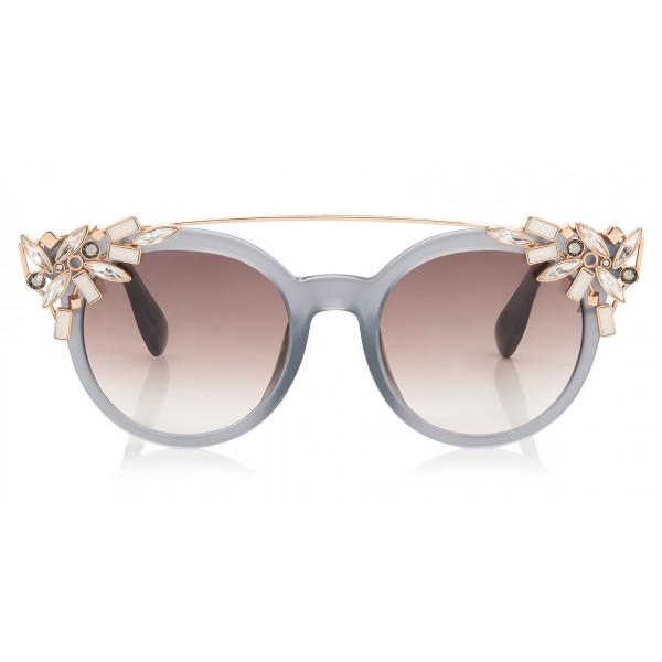 Jimmy Choo - Vivy - Occhiali da Sole Rotondi Grigi con Clip Gioiello Staccabile - Occhiali da Sole - Jimmy Choo Eyewear