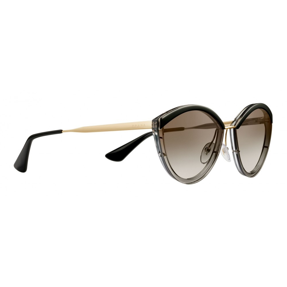 b52a5f664b8c ... Prada - Prada Cinéma - Gray Crystal Oval Sunglasses - Prada Cinéma  Collection - Sunglasses ...
