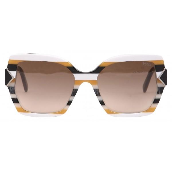 Emilio Pucci - Occhiali da Sole Quadrati Bianchi - 46549555CM - Occhiali da Sole - Emilio Pucci Eyewear