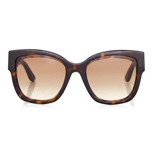 Jimmy Choo - Roxie - Occhiali da Sole Oversize Havana Scuro con Dettaglio a Stella - Occhiali da Sole - Jimmy Choo Eyewear