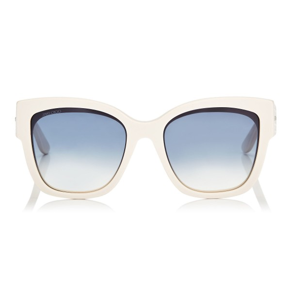 Jimmy Choo - Roxie - Ivory Oversized Sunglasses with Star Detailing - Sunglasses - Jimmy Choo Eyewear