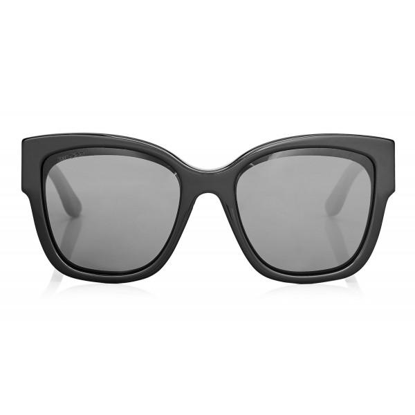 Jimmy Choo - Roxie - Black Oversized Sunglasses with Star Detailing - Sunglasses - Jimmy Choo Eyewear