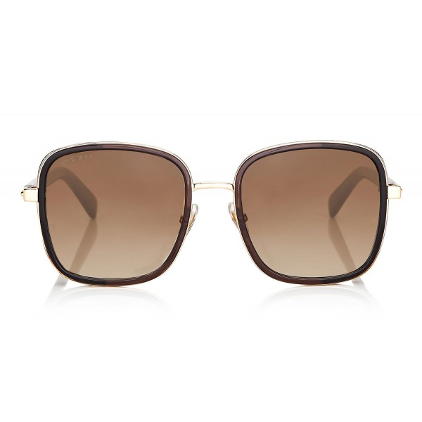 Jimmy Choo - Elva - Black and Gold Metal Oversized Sunglasses with Crystal Fabric Detailing - Sunglasses - Jimmy Choo Eyewear