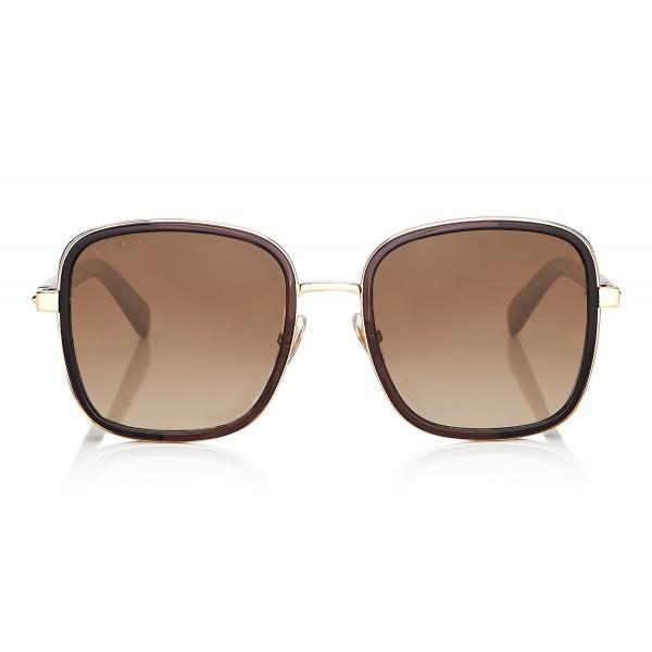 Jimmy Choo - Elva - Occhiali da Sole Oversize Nero e Oro con Dettagli in Cristallo - Occhiali da Sole - Jimmy Choo Eyewear