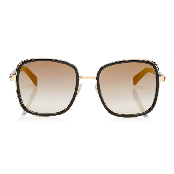 867299bbe71d3 Jimmy Choo - Elva - Black and Rose Gold Oversized Sunglasses with Leopard  Leather Detailing -