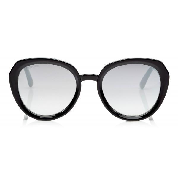 Jimmy Choo - Mace - Occhiali da Sole Rotondi in Acetato Nero con Dettagli Glitterati - Occhiali da Sole - Jimmy Choo Eyewear