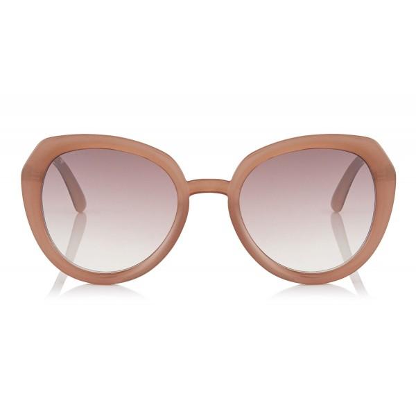 Jimmy Choo - Mace - Occhiali da Sole Rotondi Opal Nude con Dettagli Glitterati - Occhiali da Sole - Jimmy Choo Eyewear