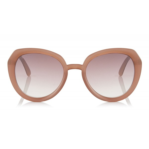 Jimmy Choo - Mace - Opal Nude Acetate Rounded Sunglasses with Glitter Detailing - Sunglasses - Jimmy Choo Eyewear